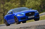 Jaguar XJ front - bright blue