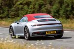 Porsche 911 Cabriolet 2019 UK rear left tracking roof-up