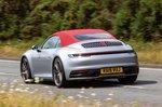 Porsche 911 Cabriolet 2019 UK rear left tracking roof-up