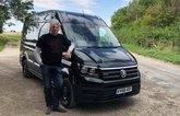 Edd China in front of Volkswagen Crafter van