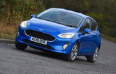 2019 ford fiesta trend blue front cornering