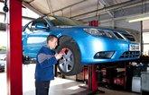 Saab in garage