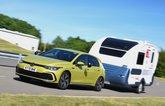 Volkswagen Golf towing a caravan