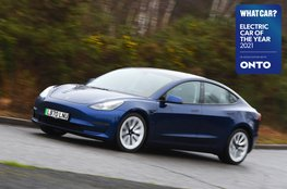 Electric Car of the Year Awards 2021 - Tesla Model 3 with badge