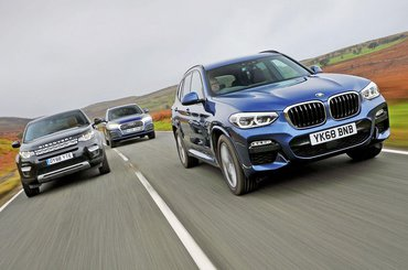 BMW X3 leading Audi Q5 and Land Rover Discovery Sport
