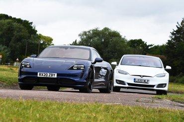 Porsche Taycan and Tesla Model S front cornering