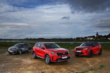 New Kia Sorento and Land Rover Discovery Sport vs Honda CR-V fronts