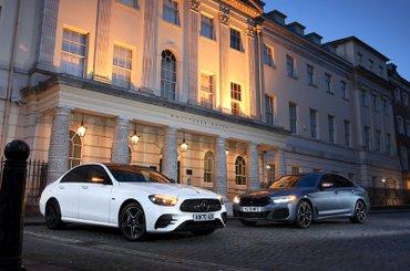 BMW 530e vs Mercedes E300e fronts