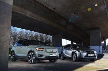 Lexus UX300e vs Volvo XC40 P8 Recharge fronts