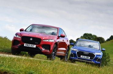 Jaguar F-Pace vs Audi Q5 2021 fronts