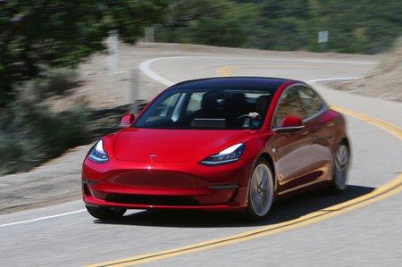 Tesla Model 3 front left cornering shot