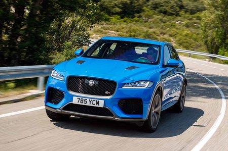 Jaguar F-Pace SVR 2019 launch front tracking shot