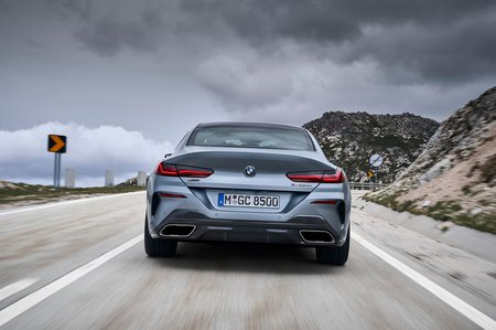 8 Series Gran Coupé 2019 LHD rear, driving away