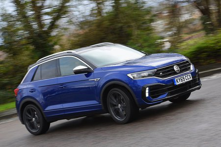 Volkswagen T-Roc R 2020 RHD front right wide tracking towards camera