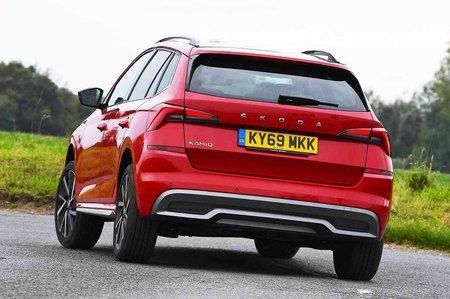 Skoda Kamiq rear cornering - red 69-plate car