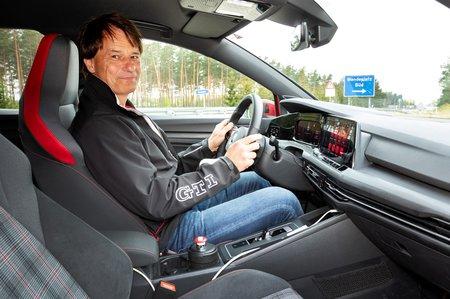 Test driver inside Volkswagen Golf GTI Mk8 prototype