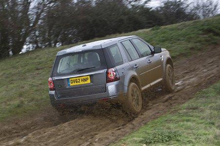 Land Rover Freelander rear up muddy hill