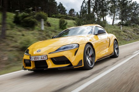 Toyota Supra 2019 LHD front tracking shot