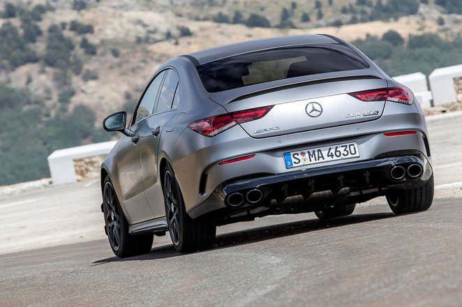Mercedes-AMG CLA 45 S 2019 launch rear left cornering