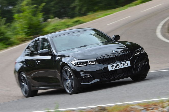 2019 BMW 3 Series front cornering - black