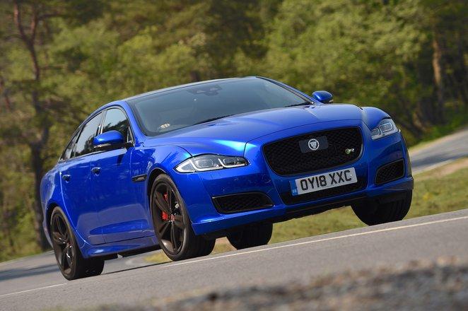 Jaguar XJ front - bright blue