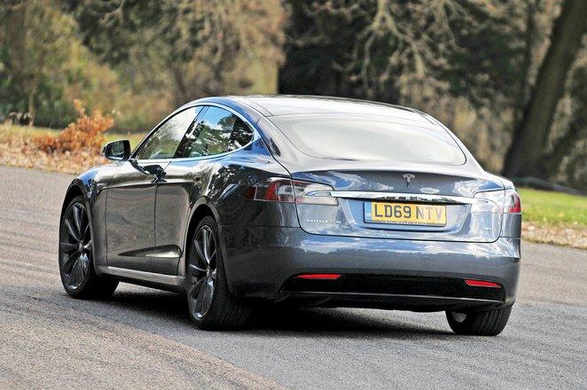 Tesla Model S rear action - 69-plate car