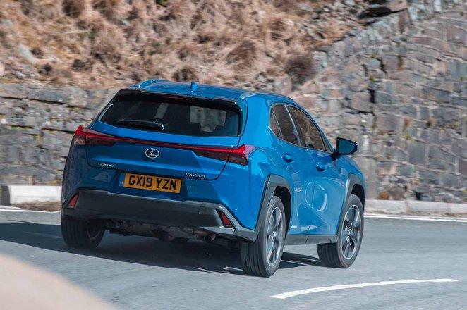 Lexus UX 2019 RHD rear tracking shot