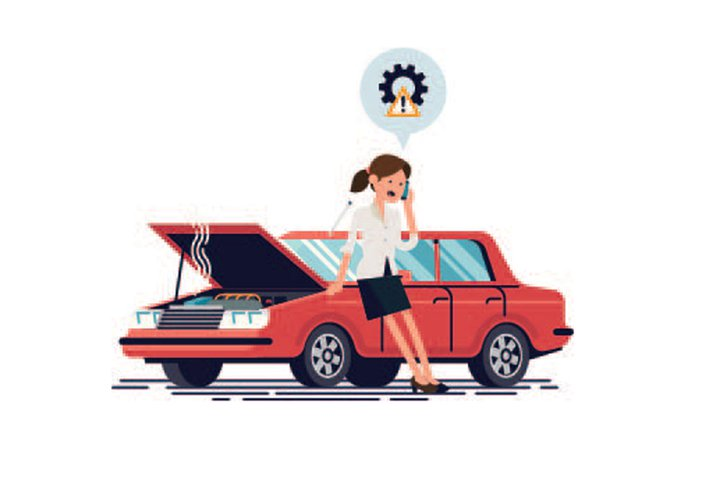 Lady with broken down car cartoon