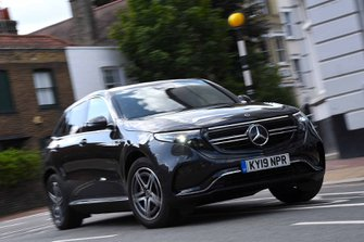 Mercedes EQC 2019 UK front right tracking shot