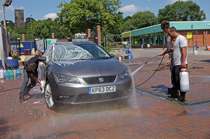 Men washing car