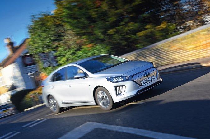 Hyundai Ioniq Electric driving through town