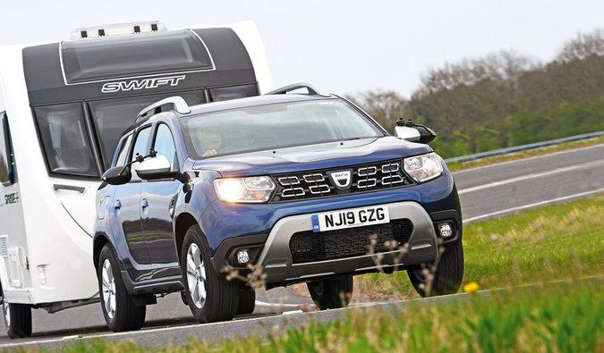 Dacia Duster towing caravan 2020