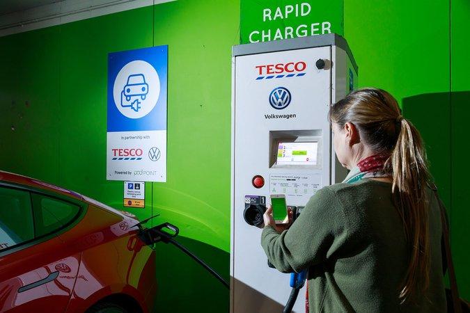 Podpoint Tesco Volkswagen charging point