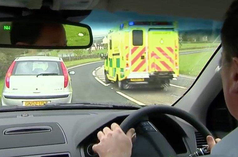 Ambulance through the windscreen