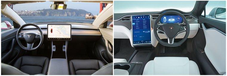 Tesla Model 3 and Tesla Model S interior
