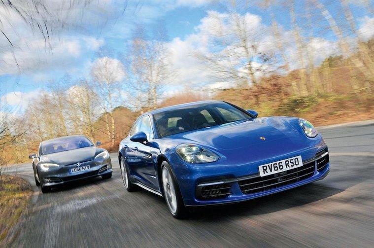 Porsche Panamera leading Tesla Model S