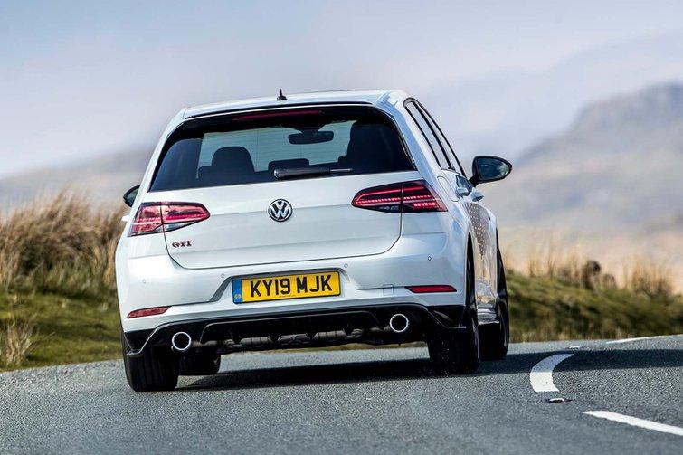 2019 VW Golf GTI TCR rear three-quarter driving