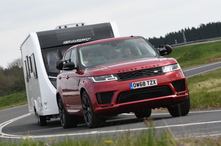 Range Rover Sport towing caravan