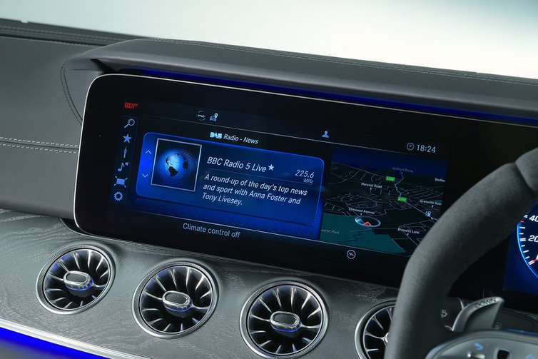 Mercedes AMG GT 4dr infotainment