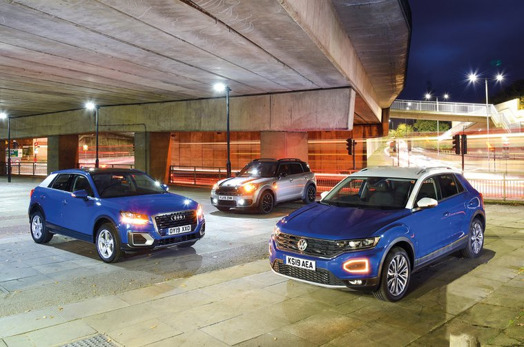 Audi Q2 vs Mini Countryman vs Volkswagen T-Roc - 19-plate cars