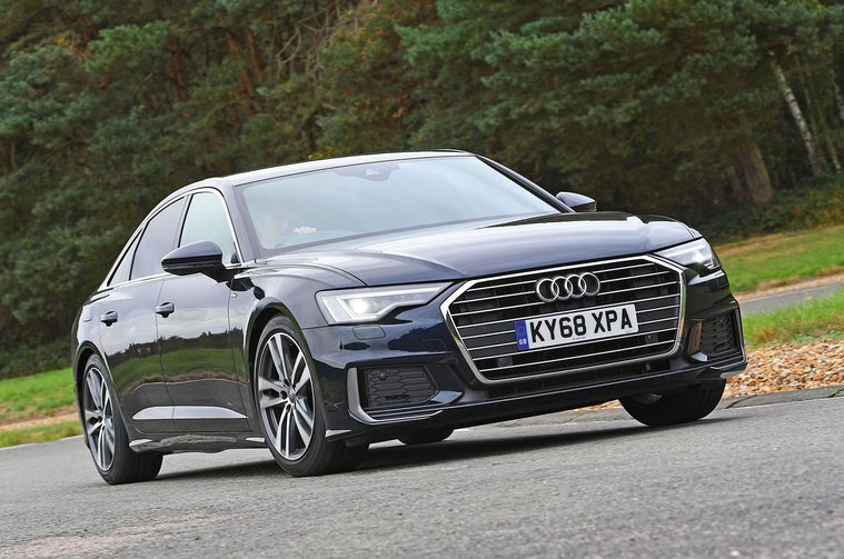 Audi A6 saloon front - navy blue