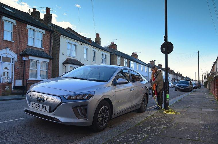 Hyundai Ioniq Electric charging on the street