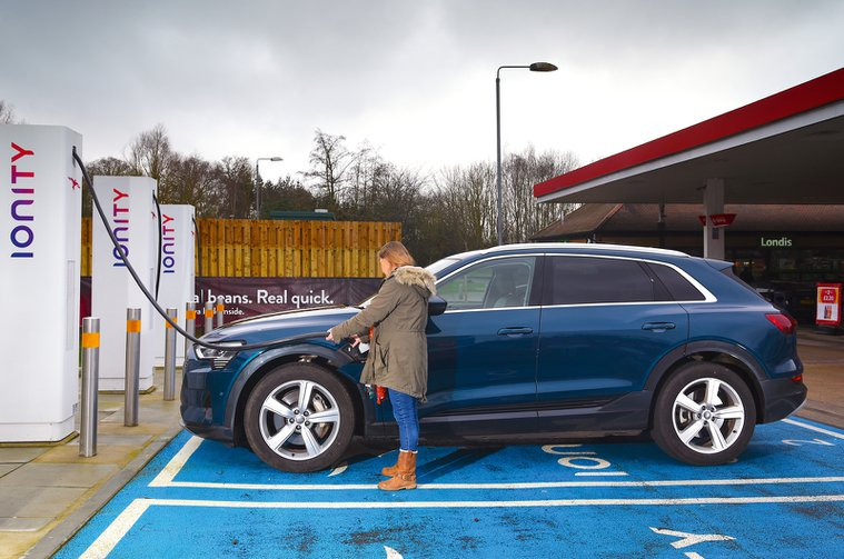 Audi E-tron at Ionity electric car charging station