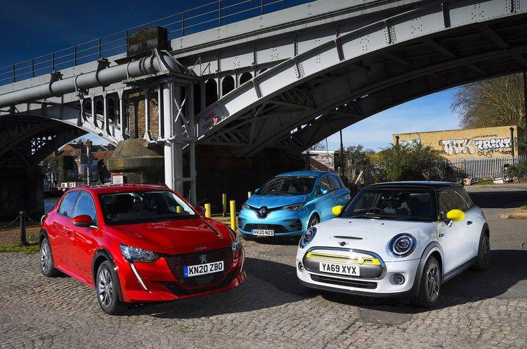 Mini Electric vs Peugeot e-208 vs Renault Zoe front static