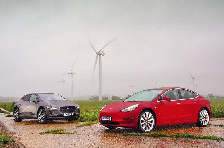 Jaguar I-Pace vs Tesla Model 3 front