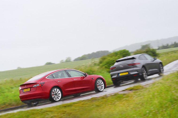Jaguar I-Pace vs Tesla Model 3 rear