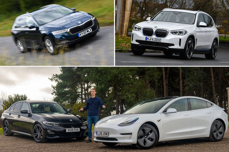 Skoda Octavia Estate, BMW iX3, BMW 3 Series, Tesla Model 3