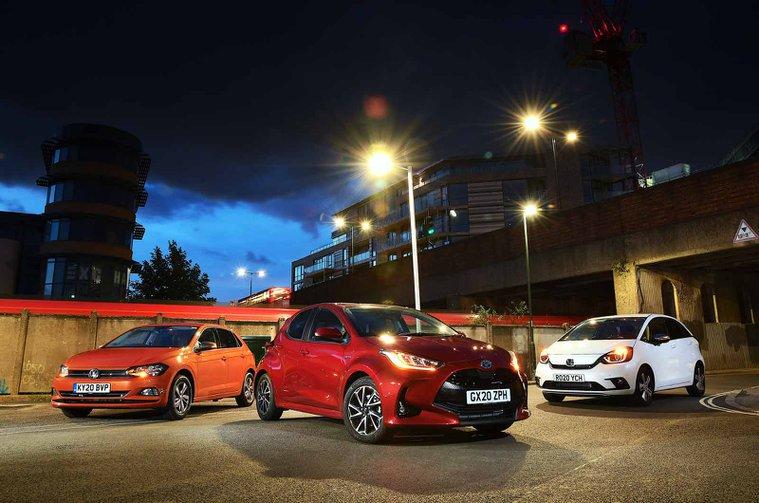 Honda Jazz vs Toyota Yaris vs Volkswagen Polo fronts