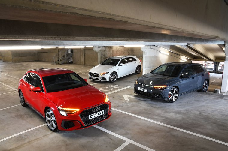 Audi A3 TFSIe and Volkswagen Golf GTE vs Mercedes A250e fronts