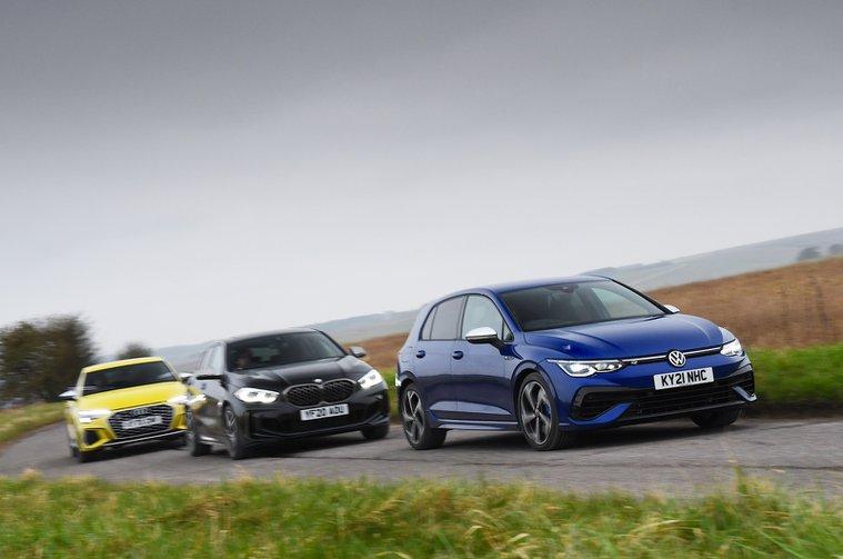 Audi S3 vs BMW M135i vs Volkswagen Golf R fronts